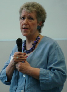 Self-published author Linda Gillard speaking at a publishing conference in Edinburgh