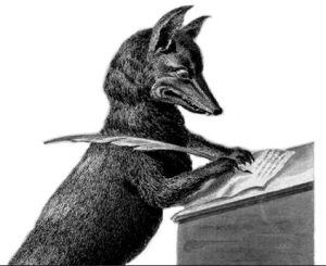 Fox writing with quill