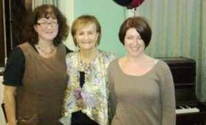 "Debbie Young and Joanne Phillips with Lindsay at the launch of ""The Piano Player's Son"""