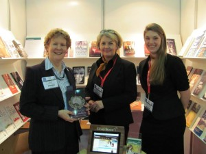 Helen Hart at the London Book Fair on the SilverWood stand with Alison Morton and Jo Zefron