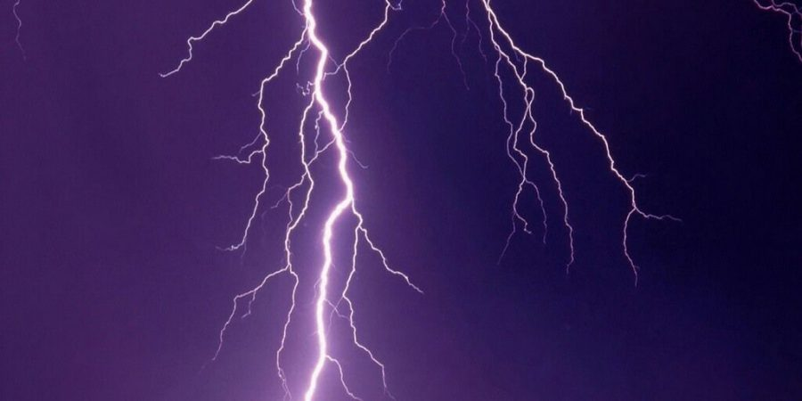 Image Of Forked Lightning Against A Night Sky