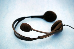 Pair of headphones with integral microphone