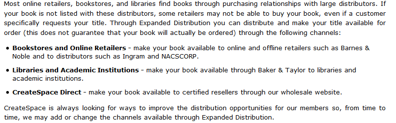 Text about expanded distribution