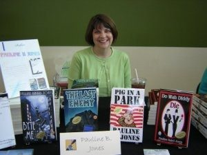 Pauline Baird Jones at her book signing table