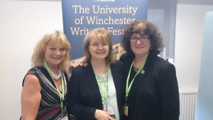Photo of Di, Lorna and Debbie at writing festival