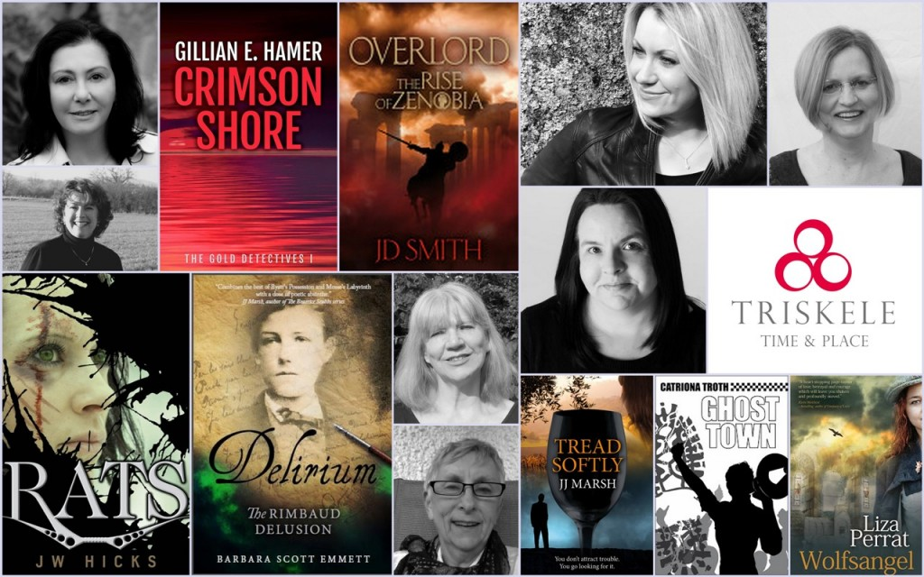 Montage of Triskele books and authors