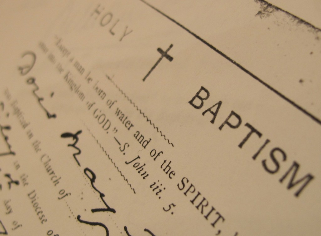 baptism certificate (Photograph © Sandra Danby)