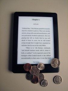 picture of ereader with coins