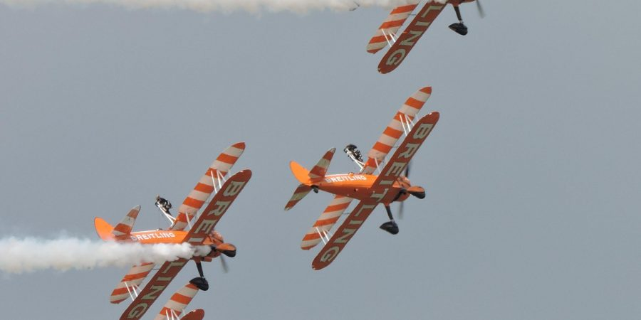 Four Planes Flying Perilously Close Together