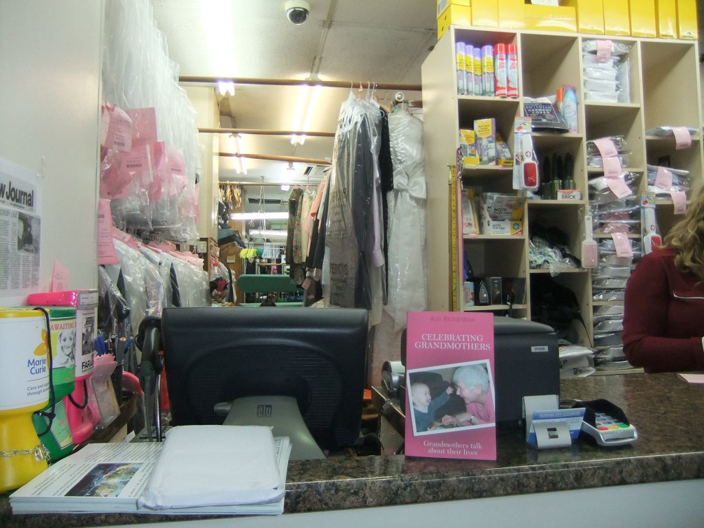 photo of book on display at dry cleaners