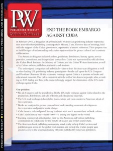 Publishers Weekly makes a petition to tackle the US' Cuba trade embargo their cover