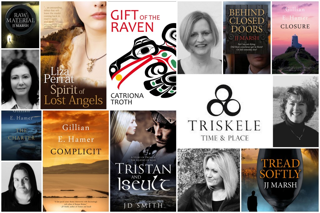 Array of book covers and Triskele logo