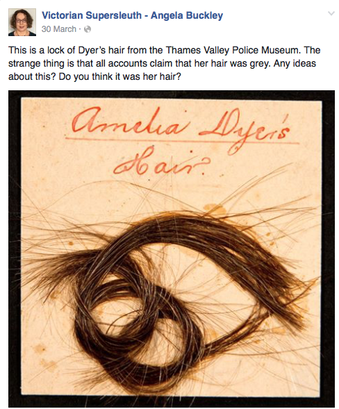 Screenshot of post featuring a lock of Amelia Dyer's hair