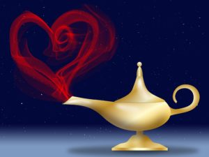 Aladdin-style magic lamp with heart appearing from spout