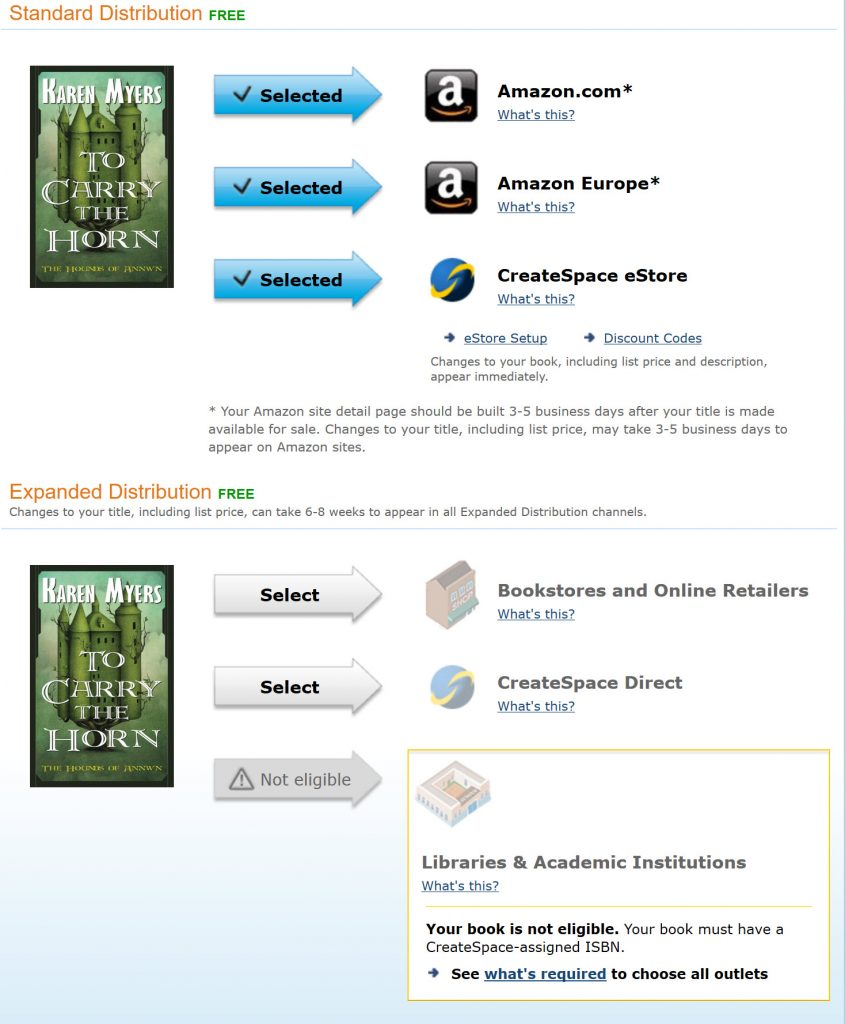 screenshot of CreateSpace page