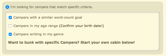 CampNaNoWriMo Cabin Assignment