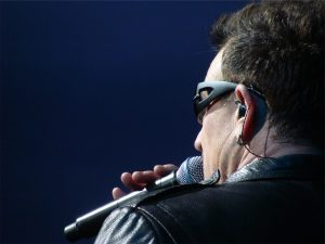singer at microphone