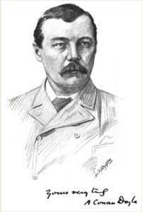 Portrait of Sir Arthur Conan Doyle https://www.arthur-conan-doyle.com/index.php?title=File:Lippincott-1894-my-first-book-juvenilia-01.jpg, Public Domain, https://commons.wikimedia.org/w/index.php?curid=50718919