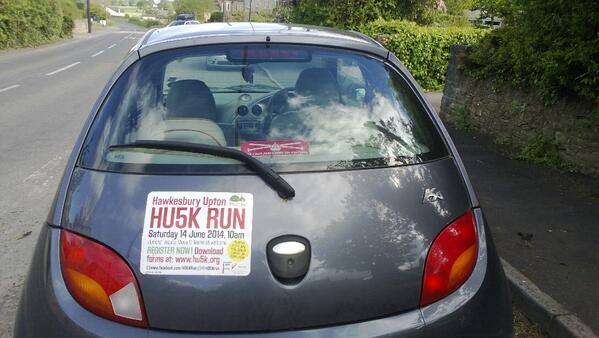 Car magnet on rear of hatchback