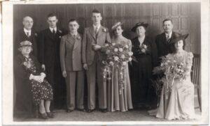 Sepia photo of wedding party
