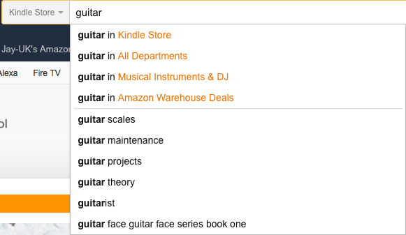 Amazon Search for Guitar
