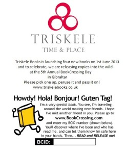Triskele Books' commemorative label for Gibraltar's BookCrossing anniversary