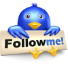 "Twitter bird with ""follow me"" sign"