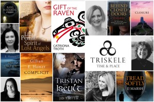 Collage of Triskele book covers and authors