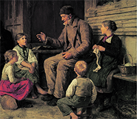 Old Man Telling Children A Story