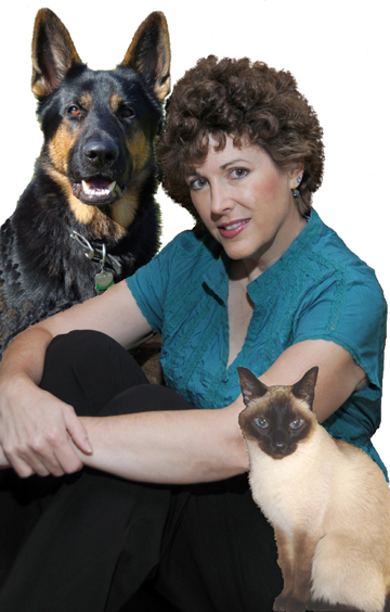 Amy Shojai with a dog and a cat