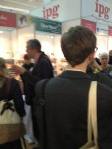 Scene in an aisle of the London Book Fair