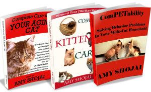 Three of Amy Shojai's cat books