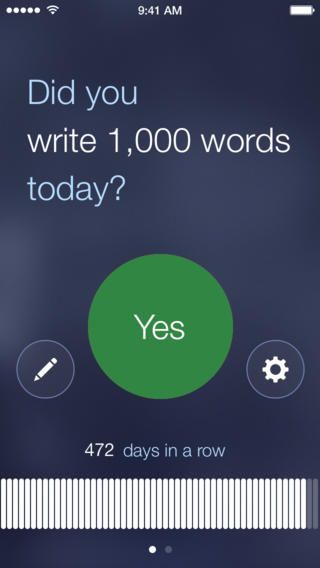 Screenshot of mobile phone app reminding you to write 1000 words