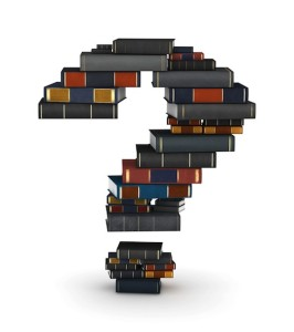 Graphic of a question mark made out of books