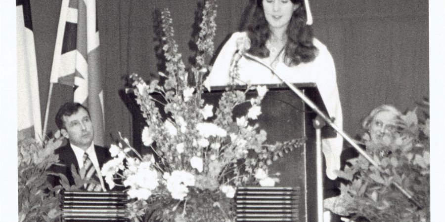 Debbie Young Making A Speech At Her International School In Germany