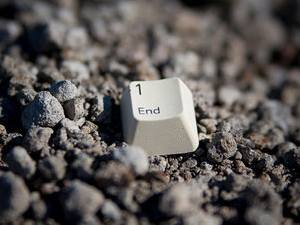"Image of computer keyboard sign saying ""End"""