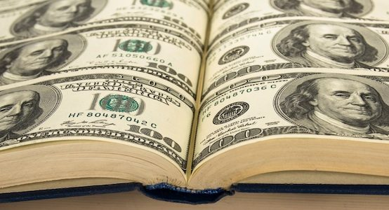 Financial management image - book of dollar bills
