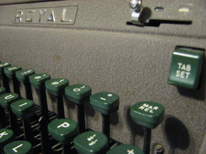 Old fashioned typewriter keyboard detail