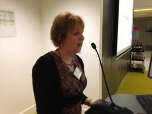Photo of Elizabeth Chadwick at the microphone