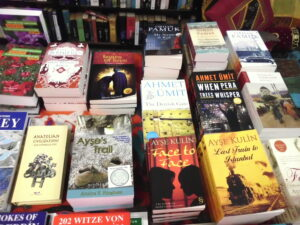Photo of her book on a display table in a bookshop