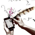drawing of someone writing on a cellphone with a quill pen