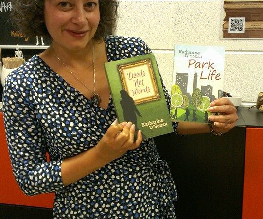 Photo Fo Katharine With Her Books At A Public Event