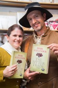 Two readers in period costume  from the era of Piers' historical novel