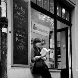 Nerys Reading Outside Bookshop