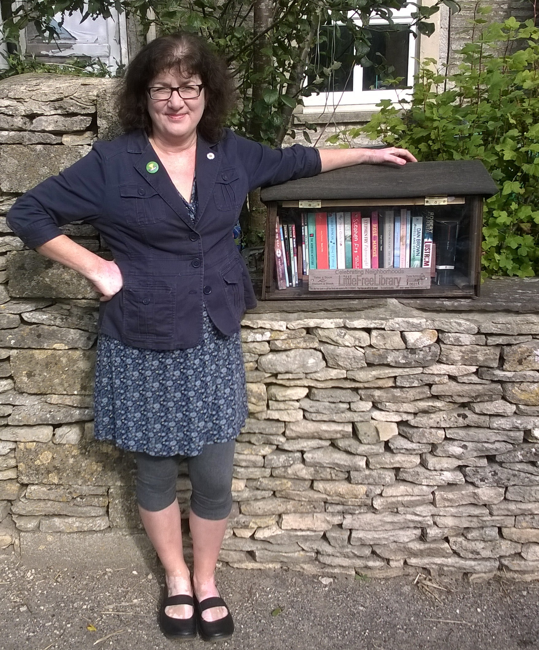 Debbie Young With Her Little Free Library