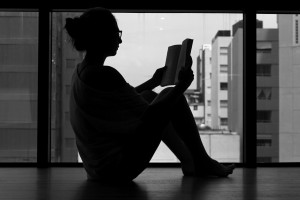 Girl reading alone