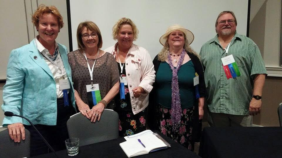 HNS 2015 selfpub/indie panel. With me are with Geri Clouston, Anna Belfrage, Helen Hollick, Dan Willis. Photo courtesy of Stephanie Moore Hopkins