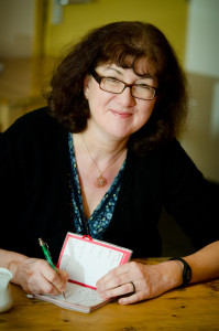 Debbie Young making notes
