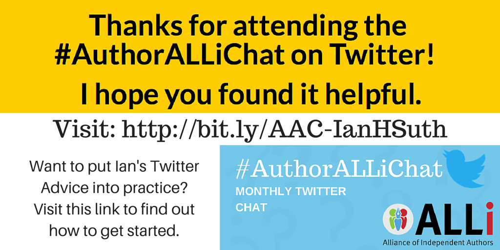 twitter chat promo from Ian Sutherland for #AuthorALLiChat