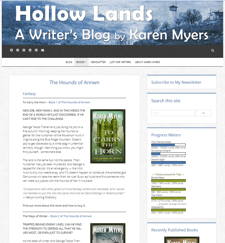 Screenshot of HollowLands series web page